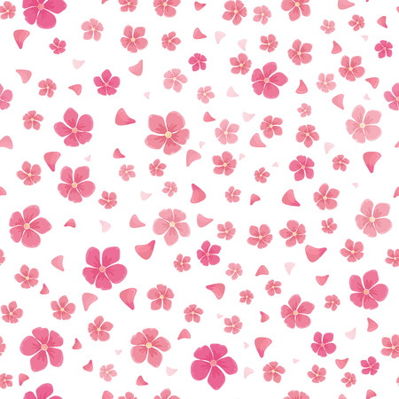 Sakura flowers isolated on white. Seamless pattern. Full blossom of traditional asian cherry tree flowers. Japanese cherry, Prunus serrulata. Cherry blossom. National flower of Japan. Pink flowers. Vector Zdjęcie Seryjne - 63506643