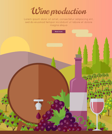 viniculture: Wine production banner. Bottle of wine, beaker, vineyard, wooden barrel, with grape valley on background. Creative advertisement poster for rose wine. Part of series of viniculture preparation. Vector Illustration
