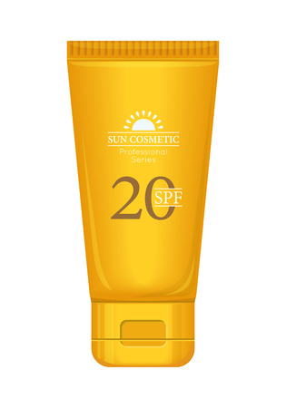with orange and white body: Sun cream professional series. Solar defence. Orange plastic tube for cosmetics on white background. Product for body and skin care, beauty, health, freshness, youth, hygiene. Realistic illustration