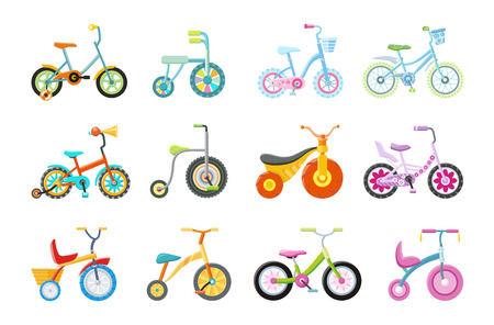 Set of kids bicycles and tricycles in flat. Bike icon. Tricycle icon. Bicycle icon. Children toy. Isolated object in flat design on white background. Vector illustration.