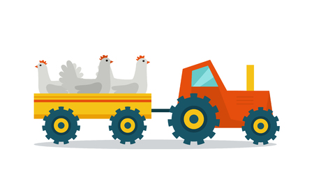 domestic animals: Domestic animals transportation vector. Flat design. Tractor with trailer caring hens. Fresh poultry delivery to market from the farm. Meat production and delivering concept. isolated on white.