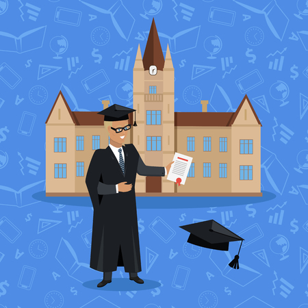 Smiling graduate student in graduation cap and gown. Happy young man in graduation gown holding diploma. Graduation man in front of college building. College education concept on blue background