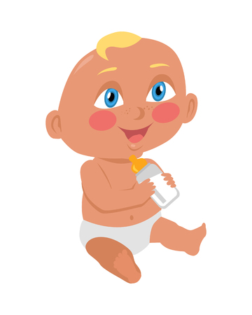 Baby sitting on the floor with a bottle. New born child. Education of a child during the first year. Parenthood concept. Nursery, education at home. Part of series of lifelong learning. Vector