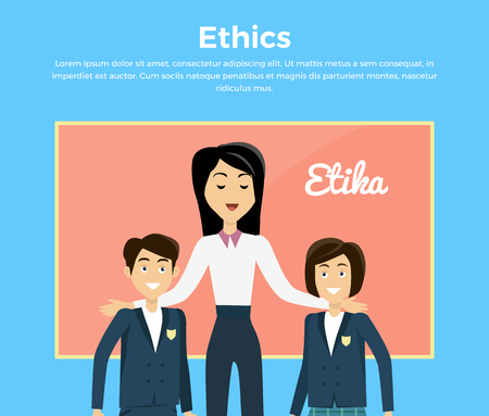 manners: Children education ethics banner flat. Female teacher with his students, a boy and a girl. Child ethical value and teacher woman, school, successful teaching and respectable, vector illustration