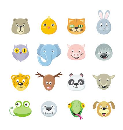 Verzameling van cute gezicht dier. Dierlijke hoofd pictogramserie. Cartoon dierenkop collectie. Bos dierlijke portret plat pictogrammen instellen. Geïsoleerd voorwerp in vlak ontwerp op witte achtergrond. Vector illustratie.
