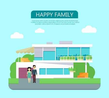 housing estate: Happy family conceptual vector in flat style design. Couple standing near their modern house. Buying a new place for living. Illustration for real estate company advertising, housing concepts.