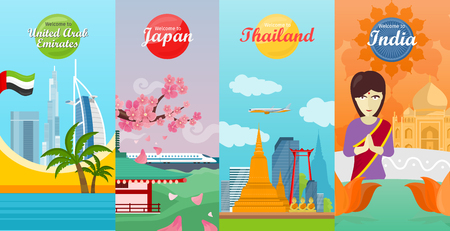 Welcome to India, United Arab Emirates, Thailand, Japan travel posters. Time to travel. Natural landscape. Travel composition with famous landmarks. Set of travel poster design. Vertical banners. Illustration
