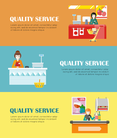 quality service: Set of quality service concept vector banners. Flat design. Smiling cashier woman seating under counter desk in grocery store. Fast and comfortable purchases illustrating for retail store advertising