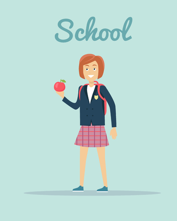 school years: School concept vector. Flat design. Smiling pupil girl in uniform with backpack and apple in hand standing on  blue background. Children education, school years, students clothes style illustrating. Illustration