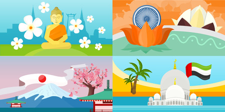 Set of India, United Arab Emirates, Thailand, Japan travel posters. Time to travel concept. Natural landscape. Travel composition with famous landmarks. Set of travel poster design. Horizontal banners