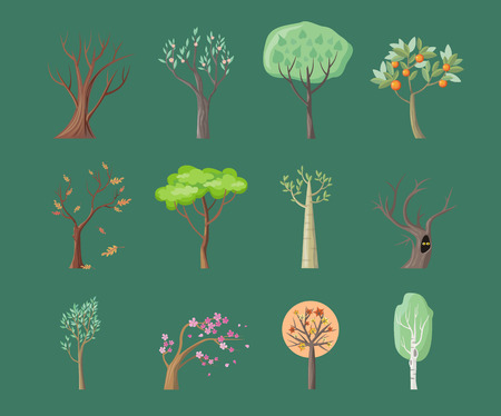 plant tree: Set of tree icons. Tree with green leaves. Maple, oak, birch, sakura, willow, poplar vector tree round icon. Tree forest, leaf tree isolated, falling autumn leaves, plant eco branch tree. Illustration