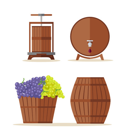 winy: Wine barrels set. Collection of tuns, buts, containers, octaves. Wooden wine casks. Basket with grapes. Check elite vintage strong wine. Part of series of viniculture production items. Vector