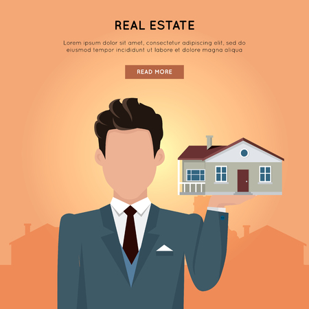 housing estate: Real estate vector web banner in flat design. Businessman character holding house in hand. Realtor.  Illustration for real estate company web page design, advertising, housing concepts.
