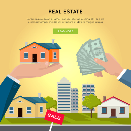 buying: Real estate vector web banner. Flat design. Hands with house and money, buildings on background. Buying and selling a new place for living. Illustration for real estate company web page design.