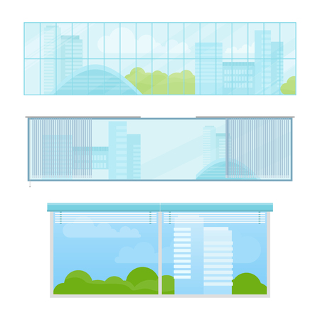 limpid: Set of windows vector illustrations in flat style. Different types and forms of house windows. City view from panoramic window in office or apartment. Isolated on white background. Illustration
