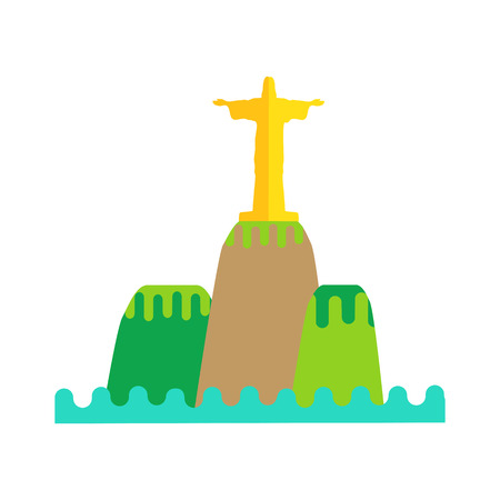 cristo: Rio de Janeiro flat background vector illustration. Brazil landscape element on white background. Statue of Jesus on the mountain. Travel composition. Travel background. Illustration