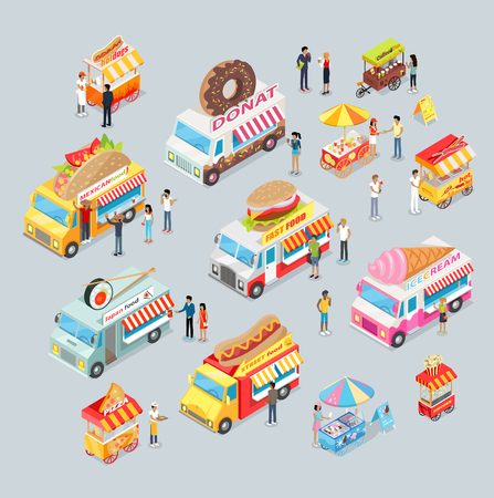 ice tea: Street food trucks set. Mexican food, Japan food, Donut, Fast food, ice cream, pizza, coffee and tea, fresh lemonade, popcorn. Cars for sale food and drink. Shop on wheels. Car store. Truck with brand Illustration