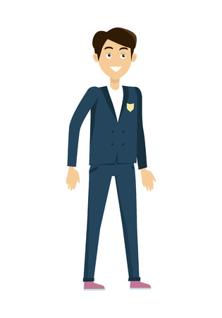 personage: Schoolboy in blue jacket and pants. Smiling boy in school uniform. Stand in front. Schoolboy isolated character. School personage. Vector illustration on white background.
