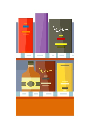 plugged: Alcohol in store concept vector in flat style. Shelf with bottles and boxes with drinks illustration for beverages concepts, grocery store advertising,  Isolated on white background. Illustration