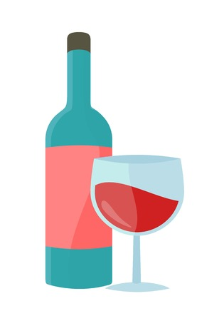 Bottle with alcohol vector in flat style. Glass bottle of wine illustration for beverages concepts, grocery store advertising, icons, infograqphic element. Isolated on white background. Çizim