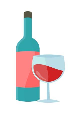 Fles met alcohol vector in vlakke stijl. Glazen fles wijn illustratie voor dranken concepten, reclame supermarkt, pictogrammen, infograqphic element. Geïsoleerd op een witte achtergrond. Stock Illustratie