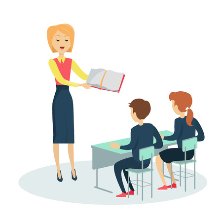 Smiling teacher with textbook in hand before pupils in classroom. Pupils sitting at a school desk. Studying in classroom. Pupils in school uniform. Learning process. Schoolgirl and schoolboy personage Illustration