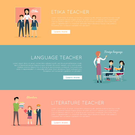 taught: Set of school teachers conceptual vector banners. Flat style. Teachers of various subjects taught students in the class. Ethics, language, literature concept banners for educational web pages design. Illustration