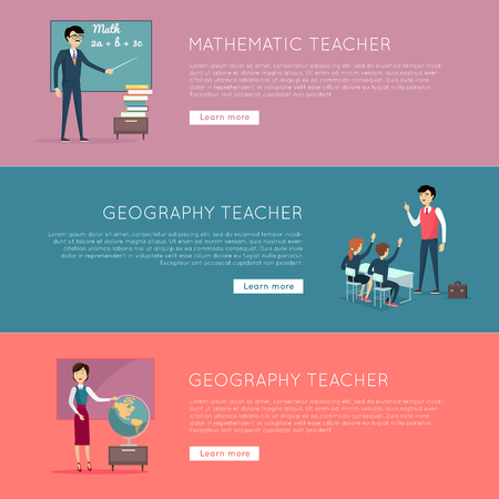 school website: Set of school education banners. Mathematic and geography teacher banners. Illustrations with learning process in classroom, pupils in school uniform, teacher near blackboard. Website template.