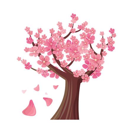 arbol de cerezo: árbol de sakura aislado en blanco. plena flor de cerezo asiática tradicional, con la caída de los pétalos. cerezo japonés, Prunus serrulata. Flor de cerezo. flor nacional de Japón. Flores rosadas. Vector