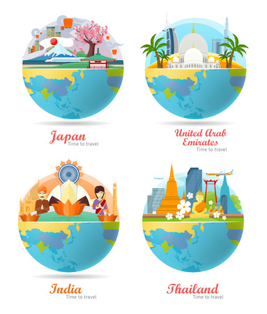 India, Emirates, Thailand, Japan travel posters design with attractions on the background of the globe. Time to travel. Travel composition with famous landmarks. Set of travel poster design in flat. Illustration