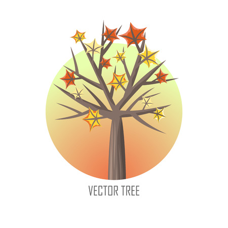 forest wood: Maple tree with falling leaves round icon. Tree forest, leaf tree isolated, tree branch, plant eco branch tree, organic natural wood illustration. Falling autumn leaves. Vector tree round icon.
