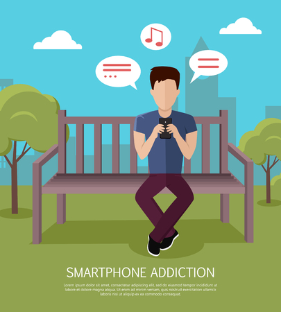 using phone: Smartphone addiction banner. Man whis smartphone sitting on wooden bench in the park. Man with dialog windows. Man using phone. Urban cityscape with man, park, bench, trees, blue sky and clouds.