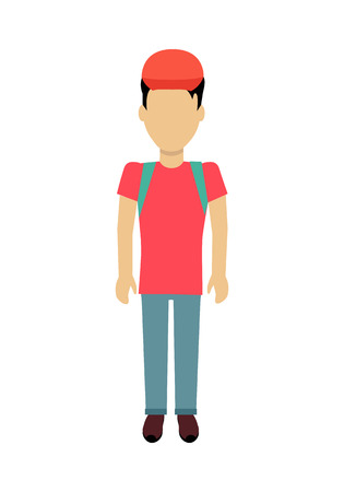 Male character without face with backpack vector in flat design. Man template personage illustration for travel concepts, mobile app pictogram,    infographic. Isolated on white background.