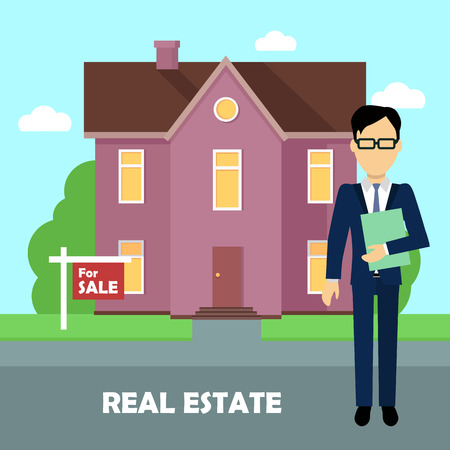 realtor: Real estate realtor on the background of purple house with brown roof. Real estate agent, house building, property home, realtor and rent, sale housing, buy apartment. Real estate concept.