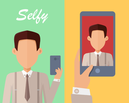 selfy: Selfy on smartphone. Young man taking own self portrait with mobile phone. Modern life with selfie photo camera. Selfie smile concept. Man shows his photo on displlay. Vector illustration