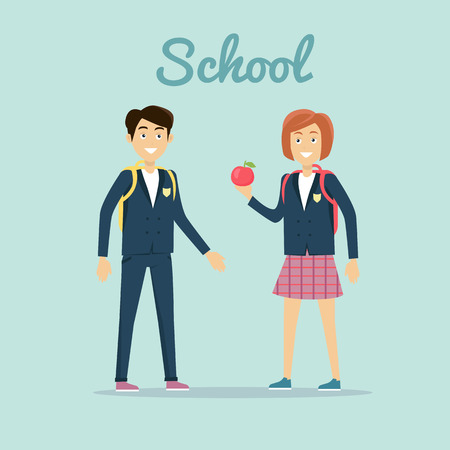 illustrating: School concept vector. Flat design. Smiling pupils boy and girl with backpacks and apple standing on blue background. Lunch on break. Picture for child learning years, students friendship illustrating