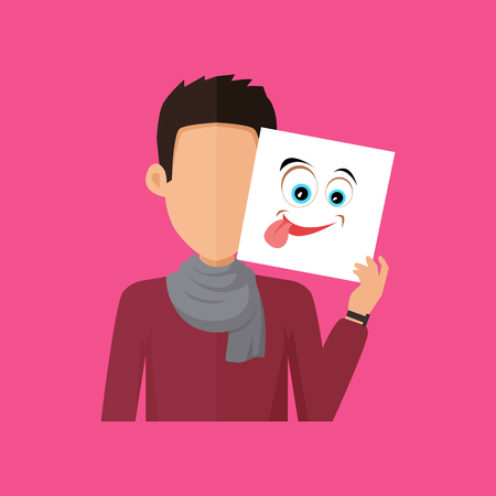playfulness: Man character avatar vector. Flat style. Brunet male portrait with joy, fun, foolery, playfulness, gaiety, emotional mask. Illustration for identity in Internet, mood concepts, app icons, infographic