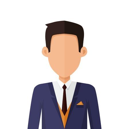 L'uomo carattere avatar vettore nel design stile piatto. Brunet maschio icona personaggio ritratto. Illustrazione per l'identità in Internet, concetti, pittogrammi app, infografica. Isolato su sfondo bianco.
