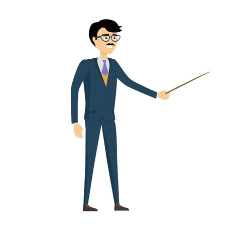 School teacher vector.  Flat design. Man character in suit and tie standing with pointer. Lecturer, professor, instructor, businessman illustration for educational concepts, courses, trainings ad.