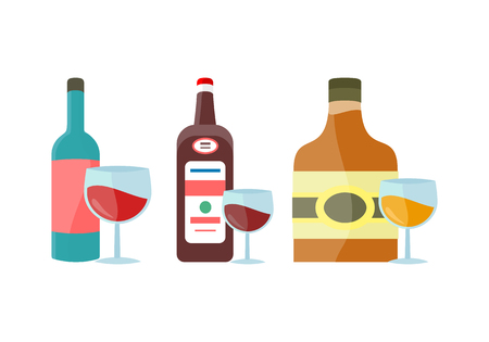 Bottles and goblet with alcohol vector in flat style. Whiskey, liquor, wine, cognac illustration for beverages concepts, grocery store ad, icons, infograqphic element. Isolated on white background.