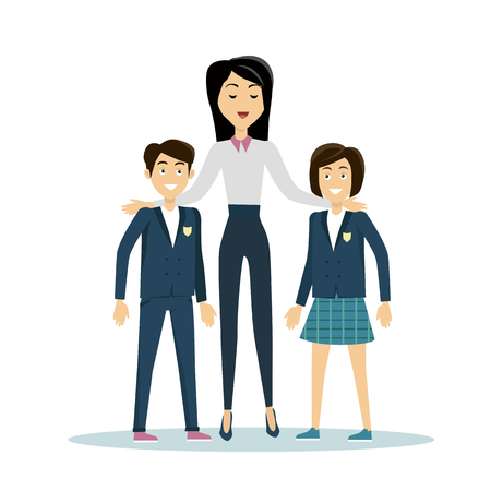 pupil's: Brunette school teacher in white blouse and blue pants with smiling pupils. Pupils in school uniform stand in front. School isolated character. School smiling personage. Learning process.