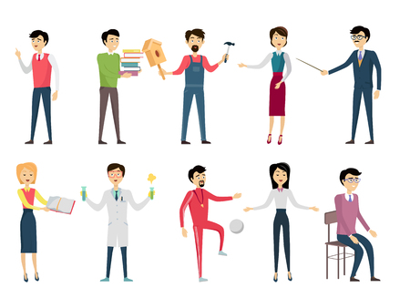 personage: Set of school teacher characters. Smiling teachers in different poses. Teachers of various school subjects. Men and women stand in front. Learning process. Teacher isolated character. School personage Illustration