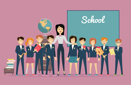 young teacher: Teachers day. Young teacher with pupils near the chalkboard. Word school written on the blackboard. Back to school. Primary education. World Book Day. Education concept. Vector illustration. Illustration