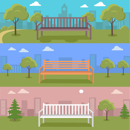 clouds scape: Set of Urban cityscape with park, bench, trees, shrubs, blue sky and white clouds. Silhouettes of buildings. Office buildings, building scenery, urban landscape, urban background, city panorama Illustration