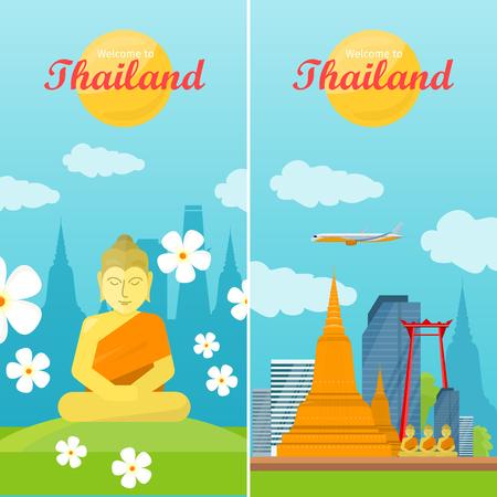 thai buddha: Thailand travelling banner. Landscape with traditional Thai landmarks. Thai god Buddha. Yoga zen. Indian, Buddhism, spiritual art, esoteric. Asian religion buddha statue with calm face. Vector
