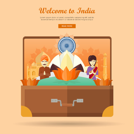 Welcome to India. Travelling banner. Landscape with traditional Indian landmarks on the photo in the suitcase. Going to vacation. Part of series of travelling around the world. Vector illustration Illustration