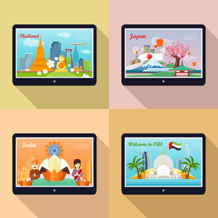 travel japan: Set of traveling advertisement banners. Welcome to Japan, Thailand, India, United Arab Emirates. Landmarks of the well known asian places of interest on your tablet display. Vector illustration