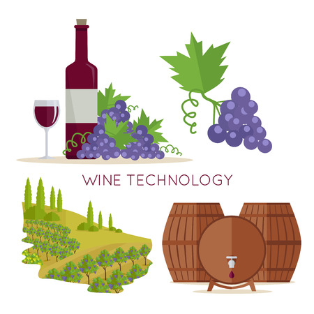 Wine technology icon set. Bottle of wine, beaker, vineyard, wooden barrels. Vinification enology. Check elite vintage red vine. Part of series of viniculture production and preparation items. Vector Ilustração