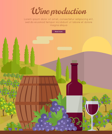 Wine production banner. Bottle of wine, beaker, vineyard, wooden barrel, with grape valley on background. Creative advertisement poster for red wine. Part of series of viniculture preparation. Vector