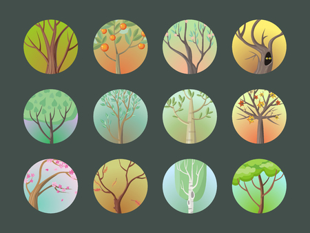 Vector trees set. Collection of trees. Oak, birch, sakura, planetree, maple,citrus, apple, pine. Cartoon style trees. Editable element for your design. Part of series of different trees Vector